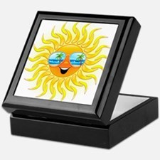 Summer Sun Cartoon with Sunglasses Keepsake Box