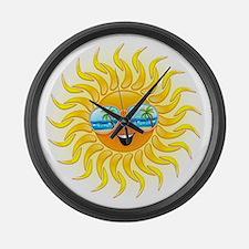 Summer Sun Cartoon with Sunglasses Large Wall Cloc