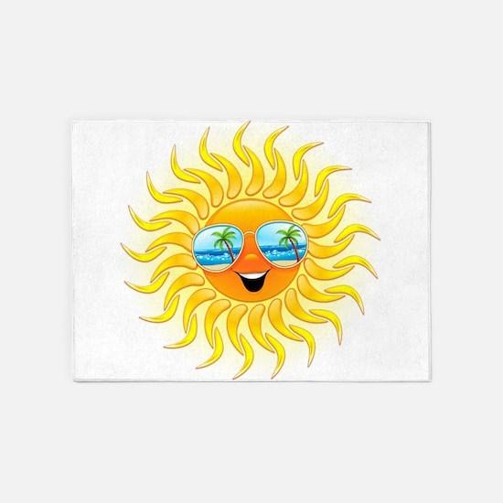 Summer Sun Cartoon with Sunglasses 5'x7'Area Rug