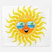 Summer Sun Cartoon with Sunglasses King Duvet