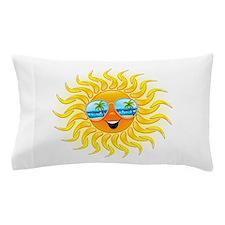 Summer Sun Cartoon with Sunglasses Pillow Case