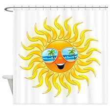 Summer Sun Cartoon with Sunglasses Shower Curtain