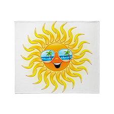 Summer Sun Cartoon with Sunglasses Throw Blanket