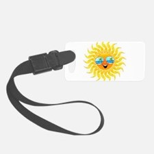 Summer Sun Cartoon with Sunglasses Luggage Tag
