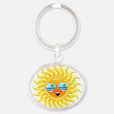 Summer Sun Cartoon with Sunglasses Keychains