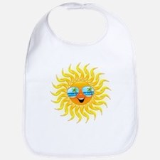Summer Sun Cartoon with Sunglasses Bib