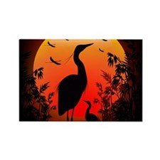 Heron Shape on Stunning Sunset Rectangle Magnet (1