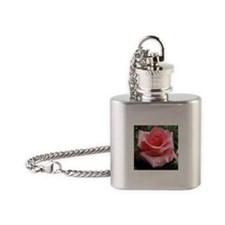 Pink Rose with Dew Flask Necklace
