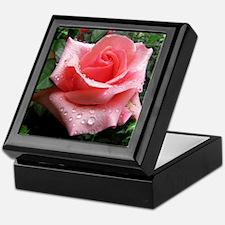 Pink Rose with Dew Keepsake Box