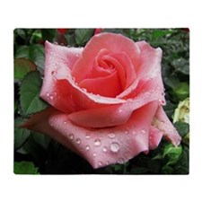 Pink Rose with Dew Throw Blanket