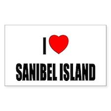 I Love Sanibel Island, Florid Sticker (Rectangular