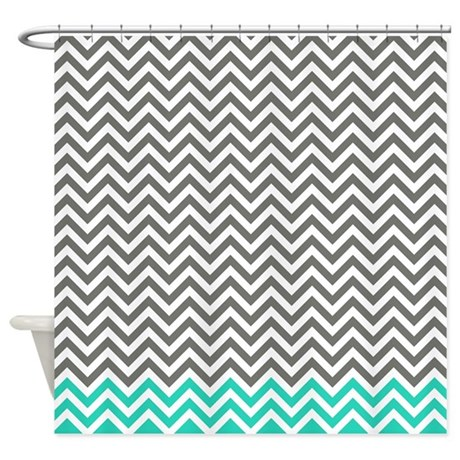 Gray And Light Blue Green Chevrons Shower Curtain By