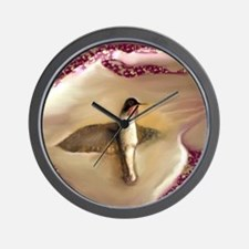 Hummingbird suspended with Ruby and cre Wall Clock