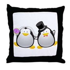 Penguin Bride and Groom Throw Pillow