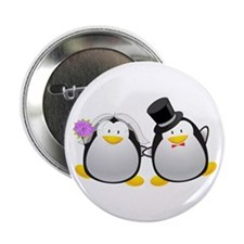 "Penguin Bride and Groom 2.25"" Button"