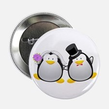 """Penguin Bride and Groom 2.25"""" Button"""