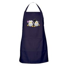 Penguin Bride and Groom Apron (dark)