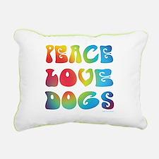 Peace Love Dogs Tiedye Rectangular Canvas Pillow