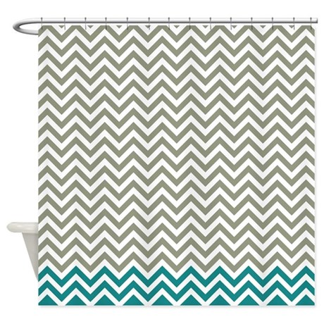 Brown Gray and Teal Chevrons Shower Curtain by FamilyFunShoppe