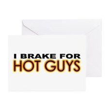 Brake for Hot Guys - Gay Greeting Cards (Package o