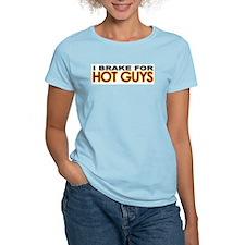 Brake for Hot Guys - Gay Women's Pink T-Shirt
