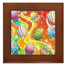 Happy Easter Eggs Design Framed Tile