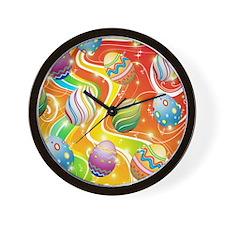 Happy Easter Eggs Design Wall Clock