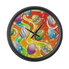 Happy Easter Eggs Design Large Wall Clock