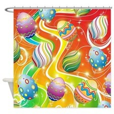 Happy Easter Eggs Design Shower Curtain