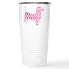 Pink Ribbon Cancer Doxie Travel Mug