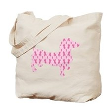 Pink Ribbon Cancer Doxie Tote Bag