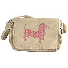 Pink Ribbon Cancer Doxie Messenger Bag