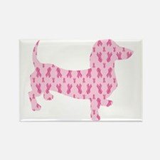 Pink Ribbon Cancer Doxie Rectangle Magnet
