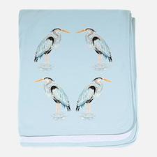 Watercolor Great Blue Heron Bird baby blanket