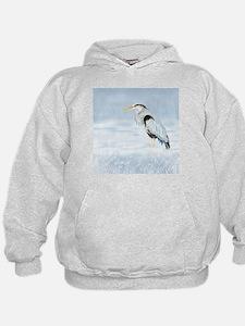 Watercolor Great Blue Heron Bird Hoodie