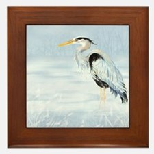 Watercolor Great Blue Heron Bird Framed Tile