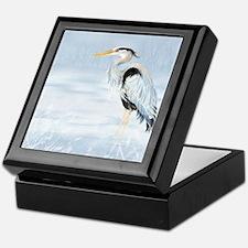 Watercolor Great Blue Heron Bird Keepsake Box
