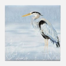 Watercolor Great Blue Heron Bird Tile Coaster