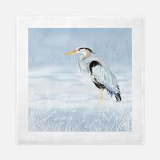 Watercolor Great Blue Heron Bird Queen Duvet
