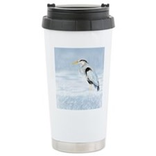 Watercolor Great Blue Heron Bird Travel Mug