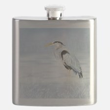 Watercolor Great Blue Heron Bird Flask