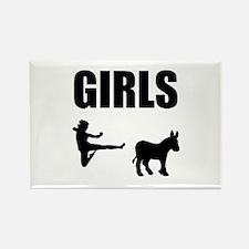 Girls Kick Ass Rectangle Magnet (10 pack)