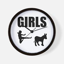 Girls Kick Ass Wall Clock