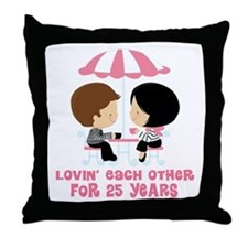 25th Anniversary Couple in Paris Throw Pillow