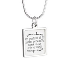 Greatness From Birth Silver Square Necklace