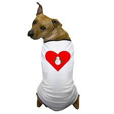 Christmas Snowman Heart Dog T-Shirt