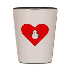 Christmas Snowman Heart Shot Glass