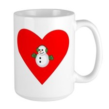 Christmas Snowman Heart Mug