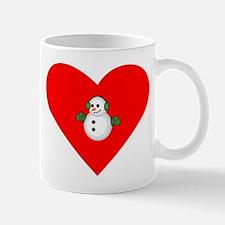 Christmas Snowman Heart Small Mug