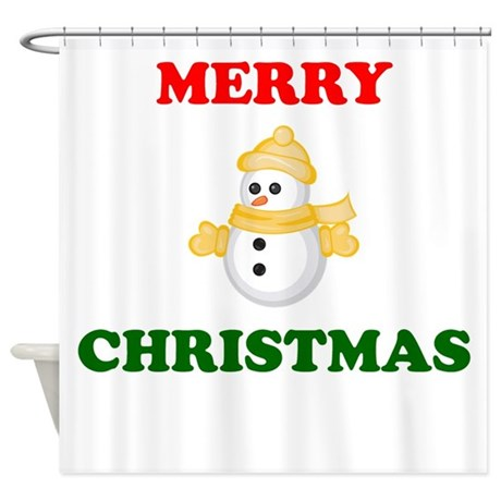 Merry Christmas Snowman Shower Curtain By